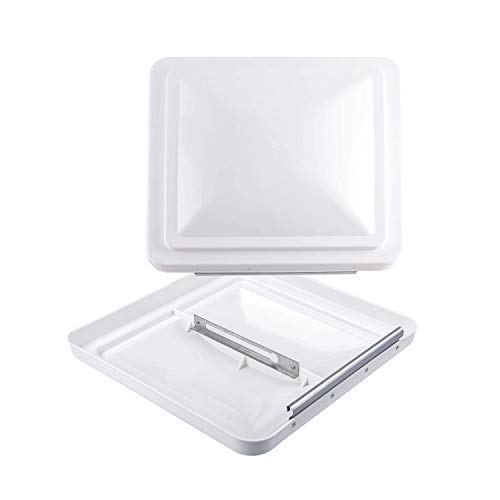 RVGUARD RV Roof Vent Cover 14 Inches, Universal Replacement Vent Lid White (2 Pack), Ventline (pre 2008) & Elixir Vents (since 1994)