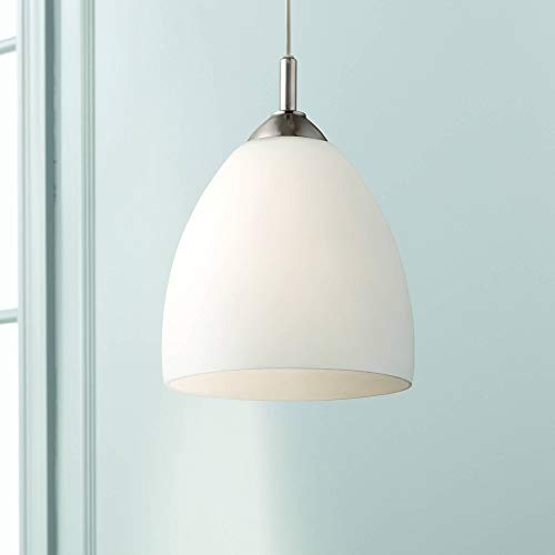 Brushed Nickel Plug in Mini Swag Pendant Lighting Fixture 9' Wide Modern Contemporary Style Opal...
