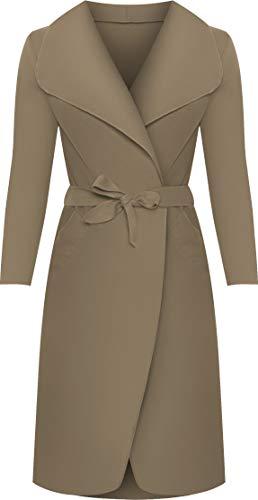 WearAll - Lange Gürtel Taschen öffnen Coat Damen Promi Wasserfall Jacke Cape - Mokka - 44-50