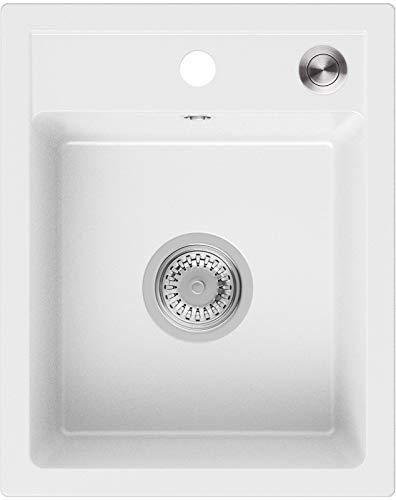 Granitspüle Weiß 40 x 50 cm, Spülbecken + Siphon Pop-Up, Küchenspüle ab 40er Unterschrank, Einbauspüle Riga von Primagran