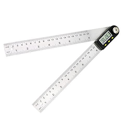 GFDFD 200mm / 300 Mm medidor Digital de Acero Inoxidable ángulo inclinómetro Regla Digital electrónico Goniómetro transportador buscador de ángulo (Size : 200mm)