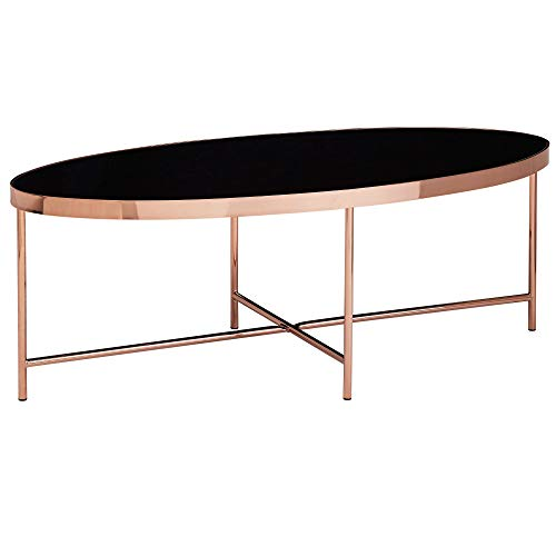 Wohnling Mesa de centro ovalada de diseño, 110 x 56 cm, espejo de cristal, mesa de salón con estructura de metal en cobre, mesa de cristal para salón