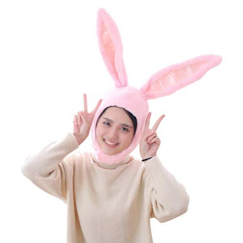 BESTOYARD Kaninchen Hut mit Ohren Lustige Plüsch Hase Ohren Kappe Kaninchen Kostüm Foto Booth Requisiten (Rosa)