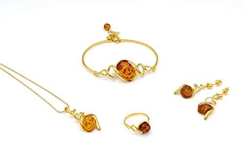 Halskette Pendant Armband Ohrringe Ring Bernstein Schmuck Set Schmuckset Damen Gold plated 925 PMBER5_GOLD