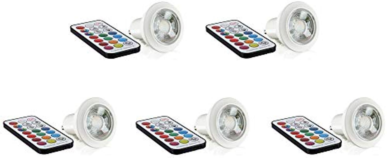 5er PACK - LED RGB + Warmwei GU10 Spot 230V Dimmbar - mit Fernbedienung - Memory-Funktion - Timer-Funktion