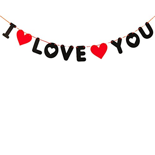 OULII Ich liebe dich Banner Brief Girlande Flagge für Valentinstag Hochzeit Baby Dusche Party Dekoration