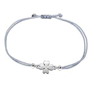 Selfmade Jewelry Kleeblatt Armband Silber - Grau mit silbernem Glücksklee - Größenverstellbar / Glücksarmband - Handmade (Silber - Grau)