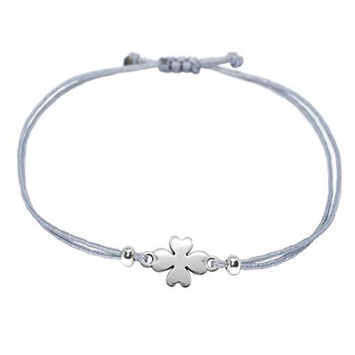 Selfmade Jewelry Kleeblatt Armband Silber - Grau mit silbernem Glücksklee - Größenverstellbar/Glücksarmband - Handmade