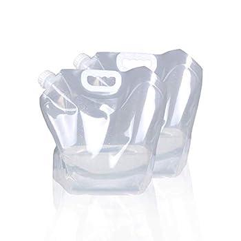 Sac de conteneur d'eau Pliable de 5L/10L, cruche de Stockage en Plastique Transparent de qualité Alimentaire sans BPA pour Alpiniste de Camping Sportif, congelable(10 litres, 2-PCS)