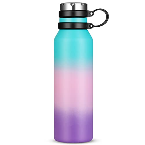 Borraccia Termica 750 ml, Senza BPA, Bottiglia Acqua in Acciaio Inox Sottovuoto a Doppia Parete, per Campeggio di Sport Esterni Escursionismo Escursioni in Bicicletta (Blu Rosa Viola)