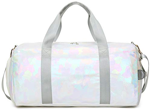 Sport Gym Duffle Travel Bag for Men Women with Shoe Compartment, Wet Pocket (White)