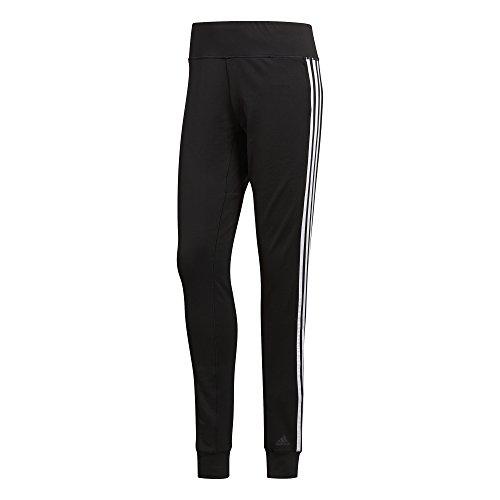adidas Damen D2M Cuffed 3-Stripes Hose, Black/White, L