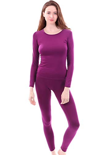 Womens Super Comfy Fleece Lined Thermal Underwear Long Johns Set AZ 2000 Wine XXL