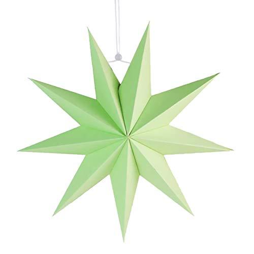 HEALLILY 9 Puntas Estrella Linterna de Papel Estrella de Techo Pantalla Colgante Adorno para Boda Fiesta de cumpleaños decoración del hogar (Verde) 30 cm