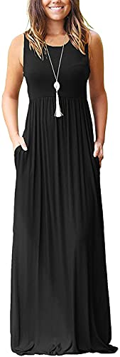 AUSELILY Women Solid Plains Summer Floral Casual Maxi Maternity Prom Formal Plus Size Dresses for Women Solid Plain 2XL Black