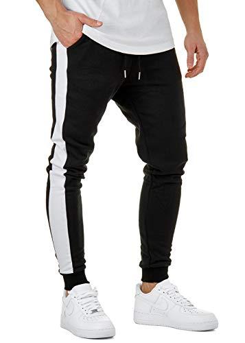 Burocs Herren Jogging-Hose Stripe Pants Slim Fit Sweatpants Streifen BR6667, Hosengröße:L, Farbe:Schwarz/Weiß