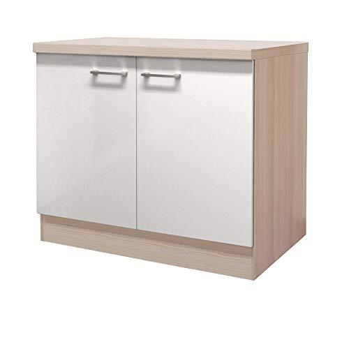 MMR Küchen-Spülenschrank DERRY - Spülenunterschrank - ohne Spüle - 2-türig - Breite 100 cm - Perlmutt Weiß