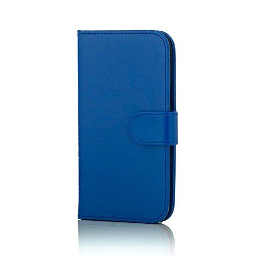 32nd® Funda Flip Carcasa de Piel Tipo Billetera para Samsung Galaxy J5 (2016) SM-J510 con Tapa y Cierre Magnético y Tarjetero - Azul