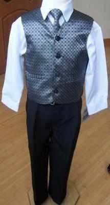 5tlg. Festanzug Kinderanzug Kommunionsanzug Hochzeit Taufe Anzug Silber-grau 9 Jahre *NEU*OVP*