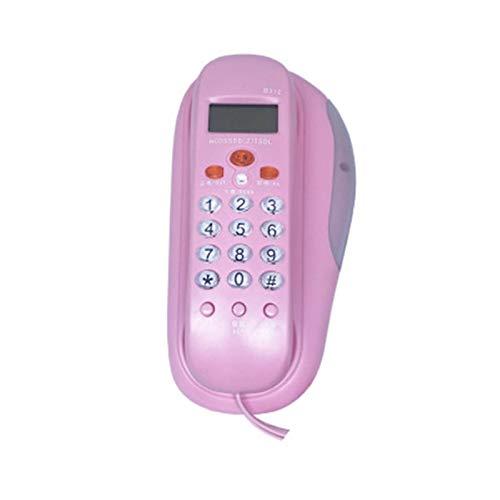 YYCHJU Teléfono con Cable Trimline Teléfono con Cable con identificador de Llamadas, indicador Luminoso, comprobación de Llamadas, teléfono Fijo montado en la Pared para el Hotel Home (Color : Pink)