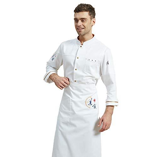 Chef Veste avec Tablier Set, Chef Professionnel Manteau à Manches Longues Popper Boutons Restauration Uniforme pour la Cuisine et Le Restaurant,Blanc,XL