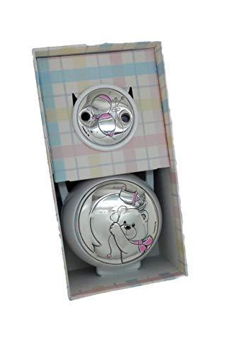 Fopspeenhouder en fopspeen clip, personaliseerbaar, met bijpassende dubbellaagse ketting van sterling zilver.