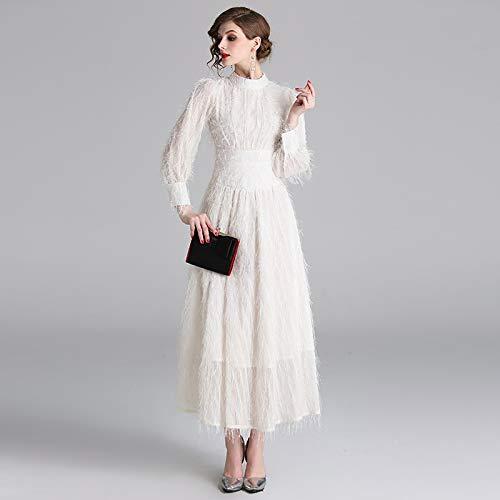 QUNLIANYI ballkleid lang Damen tüll Elegantes beige Federkleid Elegante Frauen Stehkragen Laterne Ärmel Quasten Party Kleider Designer Langes Kleid M
