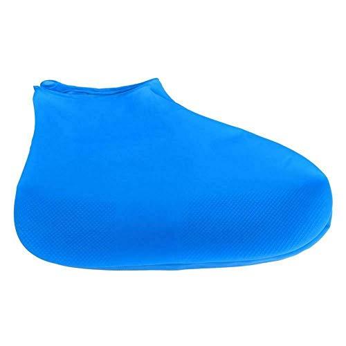 Unisex Regenschuhe decken wasserdichte rutschfeste Überschuhe Stiefel Protector (L, Blue)