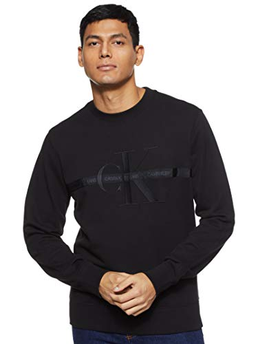 Calvin Klein Jeans Mens Taping Through Monogram CN Sweatshirt, Ck Black, L