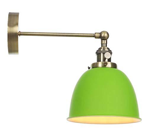 HMKJ Lámpara LED Modern Wall Sconence Estilo nórdico Lámpara de Pared Moderna Dormitorio Beisde Espejo Escalera Red Metal Interruptor LED Pared Luz Aplique Sconcique Murale (Color : Green)