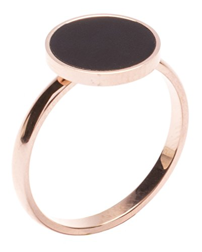 Happiness Boutique Damen Minimalist Ring mit Kreis in Schwarz   Rosegold Ring Schmuck aus Titan