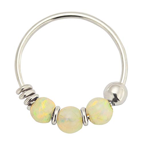 AZARIO LONDON 9K Solid White Gold Triple White Opal Bead 22 Gauge Hoop Nose Ring Nose Piercing Jewellery