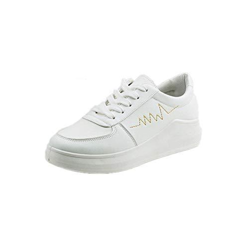 LXQLFY Zapatos Blancos pequeños para Mujer, Zapatos nuevos de otoño e Invierno, Zapatos Casuales Salvajes, Zapatos Frescos pequeños-35_Oro Blanco