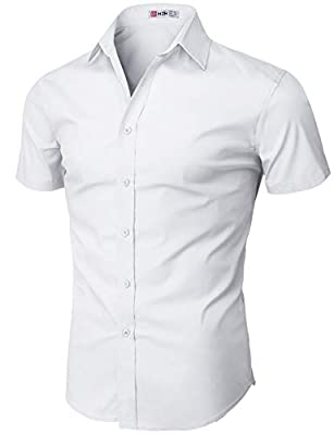 H2H Mens Basic Short Sleeves Button Down Shirts with Well-Designed Outfit White US S/Asia M (KMTSTS0132) from
