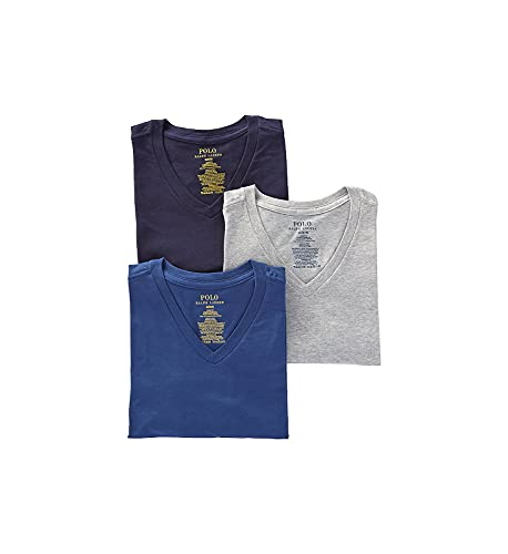 Polo Ralph Lauren Slim Fit 100% Cotton V Neck T-Shirts - 3 Pack (RSVNP3) M/Andover/Bali/Navy