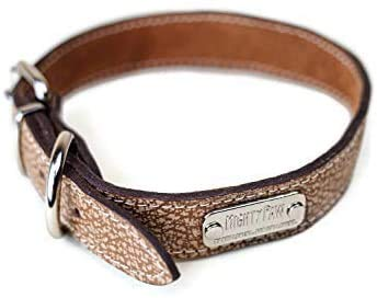 Mighty Paw Leather Dog Collar , Super Soft Distressed Leather- Premium Quality,, Modern Stylish Look