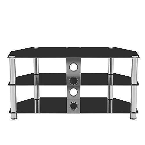 Moderno soporte de TV de tres capas para pantallas de TV de hasta 60 pulgadas con dos cajones y dos celticeslack, vidrio negro