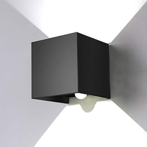 ENCOFT 12W Wandleuchte Sensor Bewegungsmelder Aussen Innen LED Wandbeleuchtung Schwarz IP67 Wasserdicht für Garten/Flur/Weg(Kaltes weißes Licht)