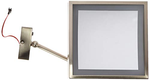 Kimball & Young Single-Sided Led Square Wall Mirror, 8' Frame, Brushed Nickel