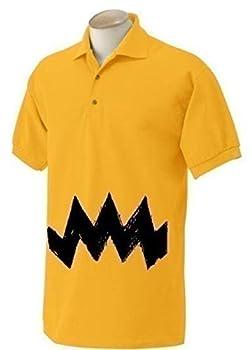 New Charlie Mens Halloween Costume Shirt   Yellow Old School Collard Shirt Zig Zag Chevron Adult Costume Idea brown peanuts FUNNY Polo Shirt