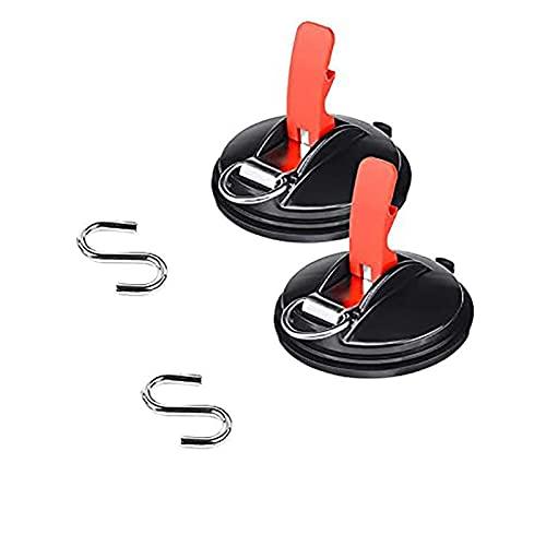 Ventosa para automóvil - Anclaje de ventosa al vacío con ganchos de sujeción, ganchos de ventosa para correa de automóvil de alta resistencia, para camping, toldo lateral, furgoneta, camión, barco y h