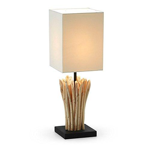 Kave Home - Lámpara de sobremesa Aurelia blanca de madera reclicada y algodón 100%