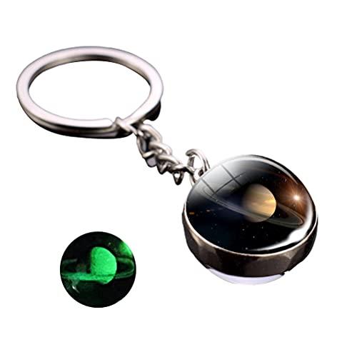 Mnsun - Portachiavi luminoso portatile con sistema solare planetario, con sfere di vetro, regalo per bambini, sorelle e amici