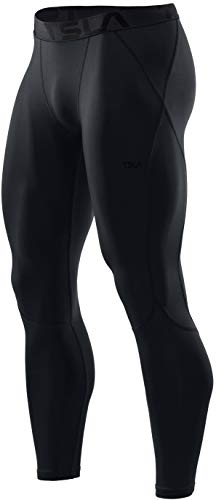 TSLA Men's UPF 50+ Compression Pants, UV/SPF Running Tights, Workout Leggings, Cool Dry Yoga Gym Clothes, Active(mup39) - Black, X-Large