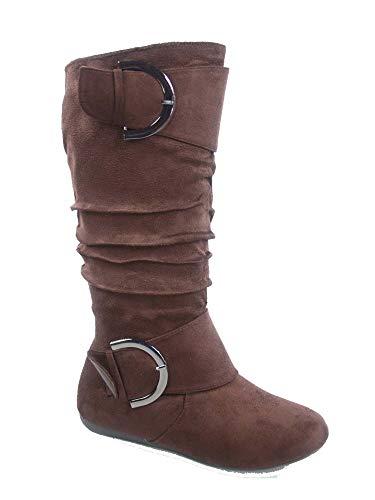 TOP Moda Bank-81 Women's Fashion Round Toe Flat Heel Zipper Buckle Slouchy Mid-Calf Boot Shoes (7.5, Brown)