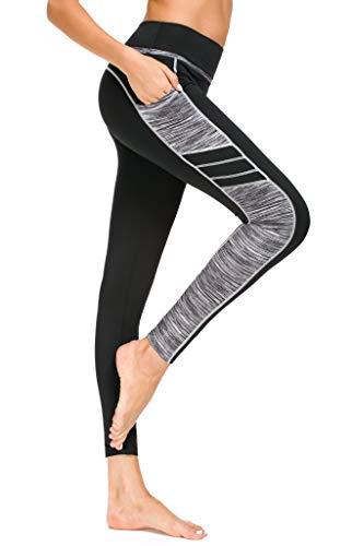 Sugar Pocket Women's Workout Leggings Running Tights Yoga Pants M (Black/Grey)