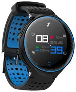 Microwear X2 Plus 1.04inch IP68 Heart Rate Monitor 180Days Long Standby Smart Watch - Smart Watch & Band Smart Wristband - (Blue) - 1 x Digital Indicator USB Cable