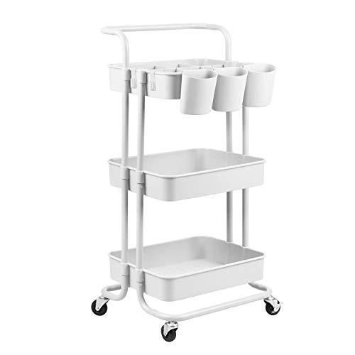 alvorog 3-Tier Rolling Cart, Storage Trolley on Wheels, ABS Storage Organiser Mesh Basket Shelf with Ergonomic Handles