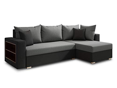 Ecksofa Lord mit praktischen Regal - Sofa mit Bettkasten und Schlaffunktion, Schlafsofa, Polsterecke, Couch L-Form, Couchgarnitur, Sofagarnitur (Schwarz + Grau (Alova 04 + 10), Ecksofa Rechts)