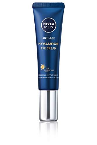NIVEA MEN Soin Yeux Anti Age (1 x 15 ml), Soin contour des yeux hydratant à l'Acide Hyaluronique, Soin visage anti-rides et ridules pour hommes